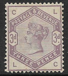 SG191 1883-84 3d Lilac MOUNTED Mint (Queen Victoria Surface Printed Stamps)